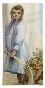 An Italian Peasant Girl Beach Towel by Ada M Shrimpton