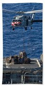 An Mh-60s Sea Hawk Delivers Supplies Beach Towel