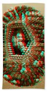 Anaglyph Of Influenza Virus Cutaway Showing Internal Structure 1 Beach Towel by Russell Kightley