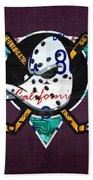 Anaheim Ducks Hockey Team Retro Logo Vintage Recycled California License Plate Art Beach Sheet