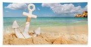 Anchor On The Beach Beach Towel