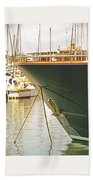 Anchored Yacht In Antibes Harbor Beach Towel