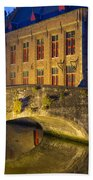 Ancient Bridge In Bruges  Beach Towel