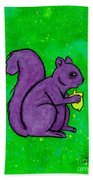 Andy's Squirrel Purple Beach Towel