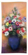 Anemones And Lilac In A Blue Vase Beach Towel