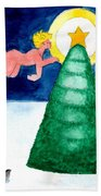 Angel And Christmas Tree Beach Towel