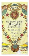 Angel Fraktur Painting Beach Towel