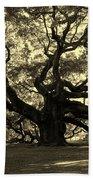 Angel Oak Tree Sepia Beach Towel