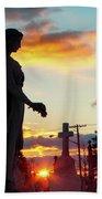 Angel Silhouette In Burst Of Colors Beach Towel