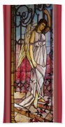 Angel Stained Glass Window Beach Towel by Thomas Woolworth