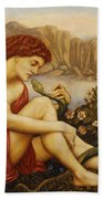 Angel With Serpent Beach Towel by Evelyn De Morgan