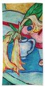 Angel's Trumpet Flowers And A Ukulele Beach Towel
