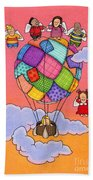 Angels With Hot Air Balloon Beach Sheet by Sarah Batalka