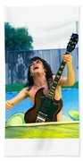 Angus Young Of A C D C At Day On The Green Monsters Of Rock  7-21-79  Beach Towel