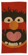 Animal Muppet Vintage Minimalistic Illustration On Worn Distressed Canvas Series No 008 Beach Towel