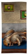 Animal - Squirrel - And Stretch Two Three Four Beach Towel by Mike Savad