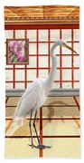 Animal - The Egret Beach Towel by Mike Savad