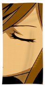 Anime Girl Brown Beach Towel