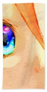 Anime Girl Eyes Gold Beach Towel