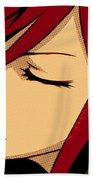 Anime Girl Red Beach Towel