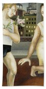Annunciation With Yellow Dress Beach Towel