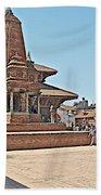 Another Hindu Temple N Bhaktapur Durbar Square In Bhaktapur -nepal Beach Towel