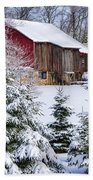 Another Wintry Barn Beach Towel