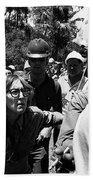Anti-viet Nam War Protestor Confronting Smoking Marine Pro-war March Tucson Arizona 1970  Beach Towel