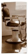 Antiquated Barber Chair In Sepia Beach Towel