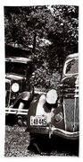 Antique Cars Black And White Beach Towel