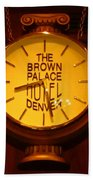 Antique Clock At The Bown Palace Hotel Beach Towel