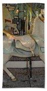 Antique Dentzel Menagerie Carousel Horse Colored Pencil Effect Beach Towel