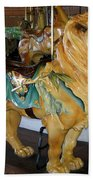Antique Dentzel Menagerie Carousel Lion Beach Towel by Rose Santuci-Sofranko