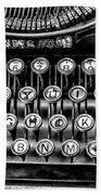 Antique Keyboard - Bw Beach Towel