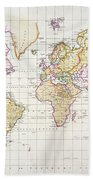 Antique Map Of The World Beach Towel by James The Elder Wyld