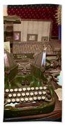 Antique Oliver Typewriter On Old West Physician Desk Beach Towel by Janice Rae Pariza