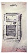 Antique Phonograph Cabinet Patent Beach Towel