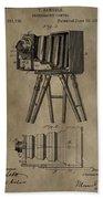 Antique Photographic Camera Patent Beach Towel