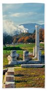 Antique Pillars And Power Plant Megalopoli Greece Beach Towel