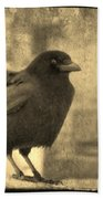 Antique Sepia Crow Beach Towel