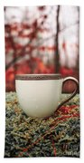 Antique Teacup In The Woods Beach Towel by Edward Fielding