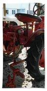 Antique Tractor Hiding In The Shadows Beach Towel