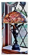 Antique Victorian Lamp At The Boardwalk Plaza - Rehoboth Beach Delaware Beach Towel