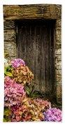 Antique Wooden Door And Hortensia Beach Towel
