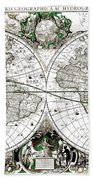 Antique World Map Poster Beach Towel