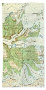 Antique Yosemite National Park Map Beach Towel