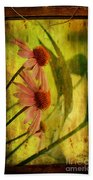 Antiqued Cone Flowers Beach Towel