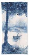 Antwerp Blue Landscape Watercolor Beach Towel