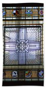 Anzac Day 2014 Auckland War Memorial Museum Stained Glass Roof Beach Towel