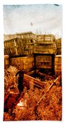 Apple Crates And Crows Beach Towel by Bob Orsillo